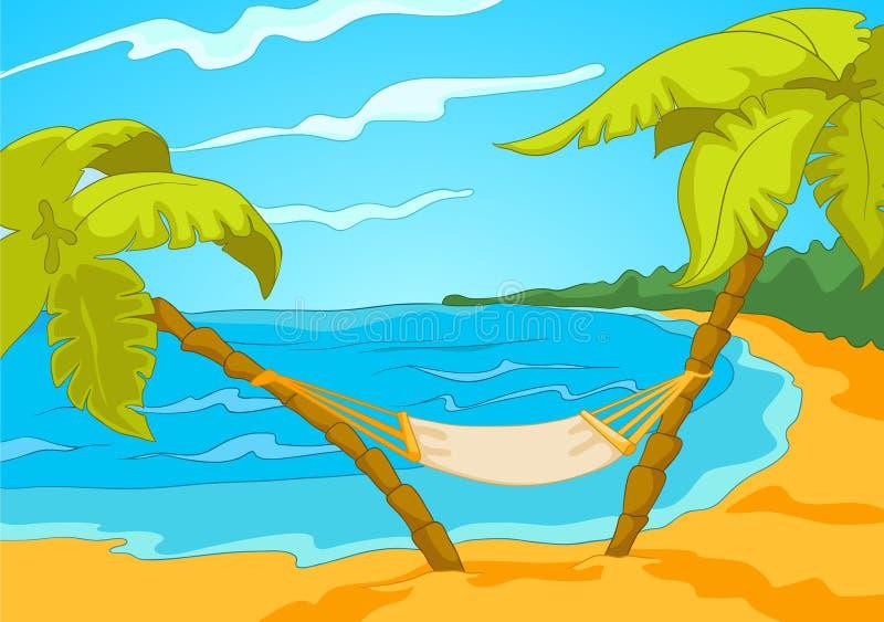 Kreskówki tło tropikalna plaża i morze royalty ilustracja