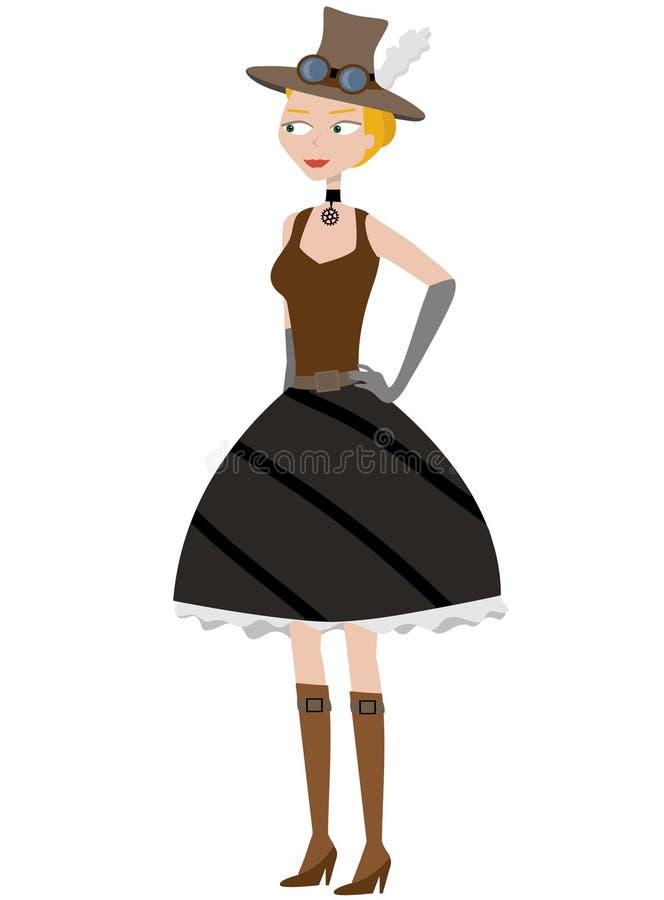 kreskówki target175_0_ steampunk kobieta ilustracja wektor