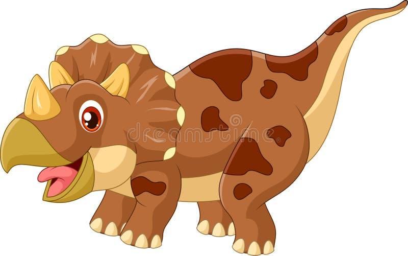 Kreskówki triceratops trzy dinosaura rogata ilustracja royalty ilustracja