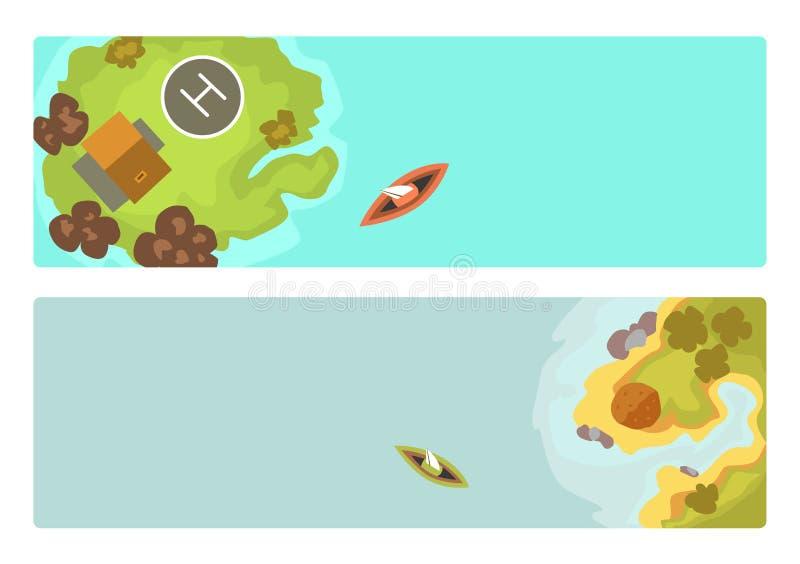 Kreskówki tropikalnej broszurki egzotyczna wyspa w oceanu odgórnego widoku laguny egzotycznej mapy sprite seascape karaibskiej po ilustracji