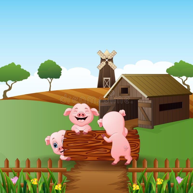 Kreskówki trzy małe świnie bawić się w beli z rolnym tłem ilustracja wektor