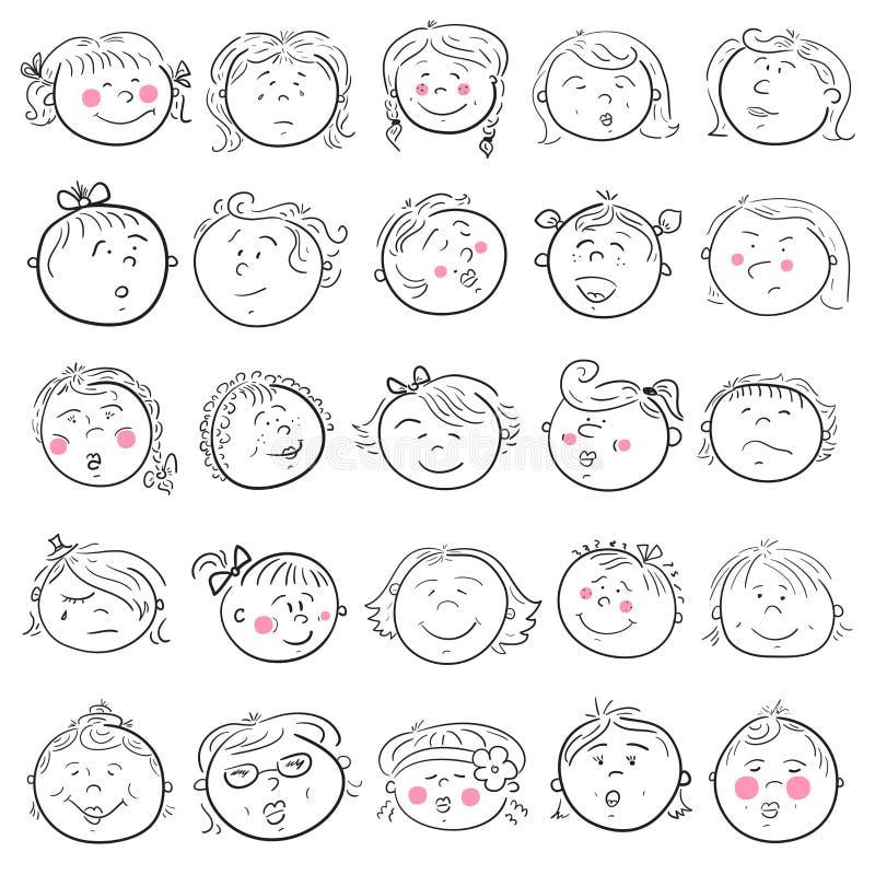 Kreskówki twarz dziewczyna set ilustracja wektor