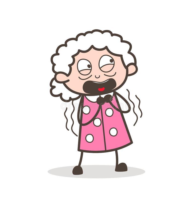 Kreskówki twarzy babcia Zdumiewająca Wyrażeniowa Wektorowa ilustracja ilustracja wektor