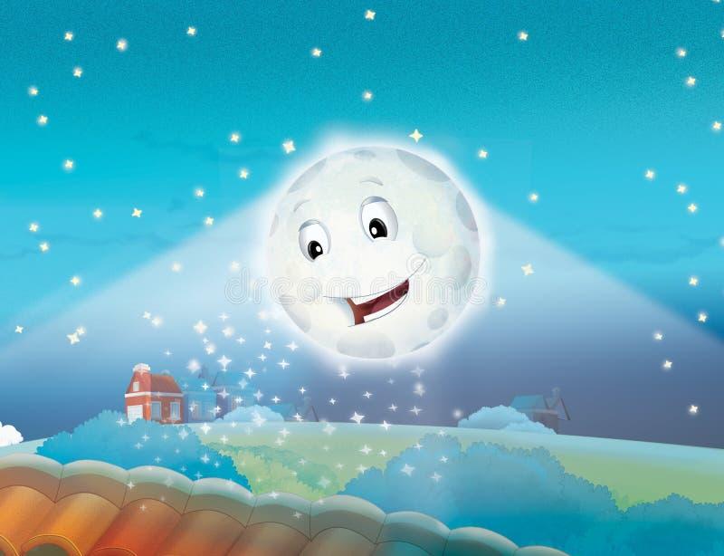 Download Kreskówki Uśmiechnięta Księżyc Nocą Z Gwiazdami Ilustracji - Ilustracja złożonej z kraj, cichy: 28956287
