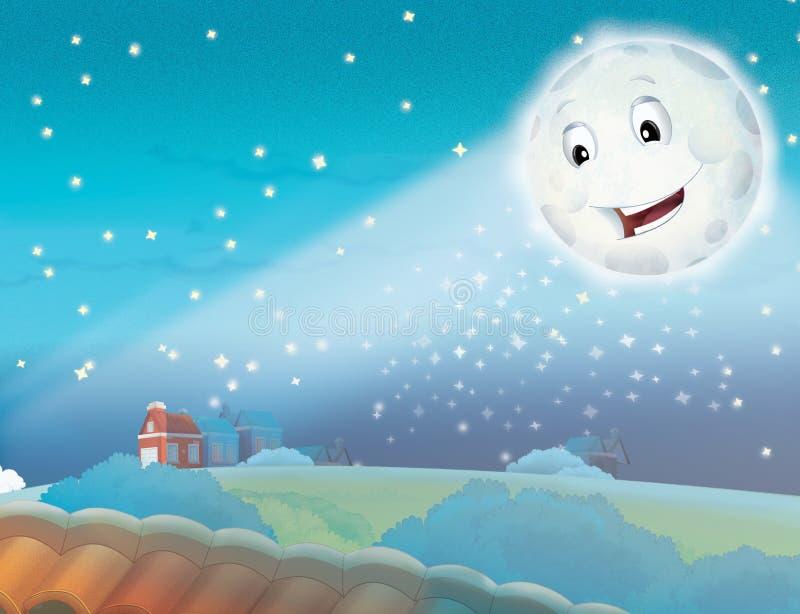 Download Kreskówki Uśmiechnięta Księżyc Nocą Z Gwiazdami Ilustracji - Ilustracja złożonej z cichy, twarz: 28956354