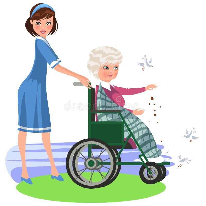 Kreskówki uśmiechniętej pielęgniarki pomaga kobieta w wózku inwalidzkim royalty ilustracja