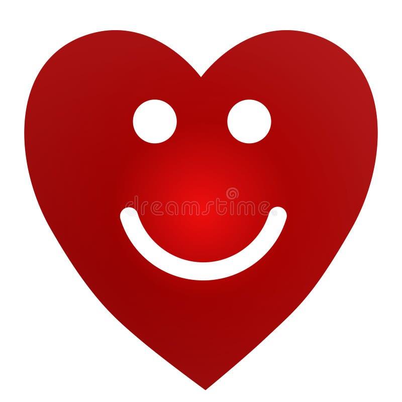 Kreskówki Uśmiechnięty Żeński serce na białym tle royalty ilustracja