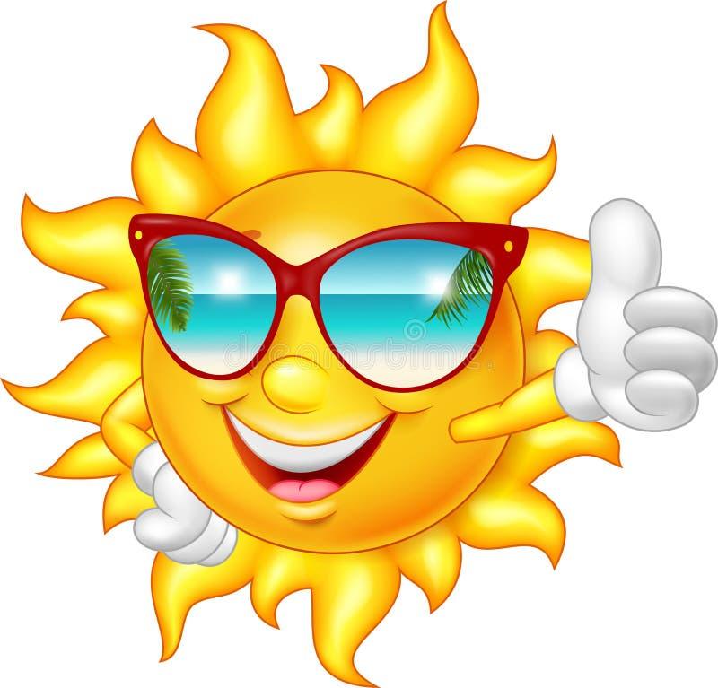 Kreskówki uśmiechnięty słońce daje kciukowi up ilustracji