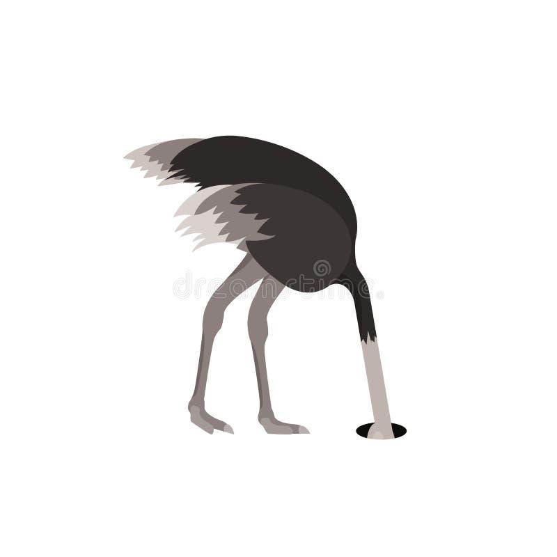 Kreskówki uczucia Strusiego Ptasiego strachu Płaski projekt wektor royalty ilustracja