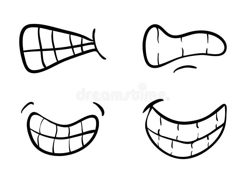 Kreskówki usta z zębami ustawia wektorowego symbol ikony projekt Beautif royalty ilustracja