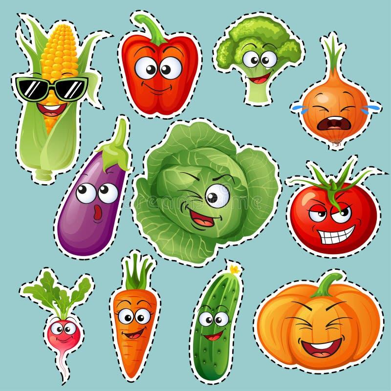 Kreskówki warzywa charaktery Jarzynowi emoticons majcher Ogórek, pomidor, brokuły, oberżyna, kapusta, pieprze, marchewki, cebula royalty ilustracja