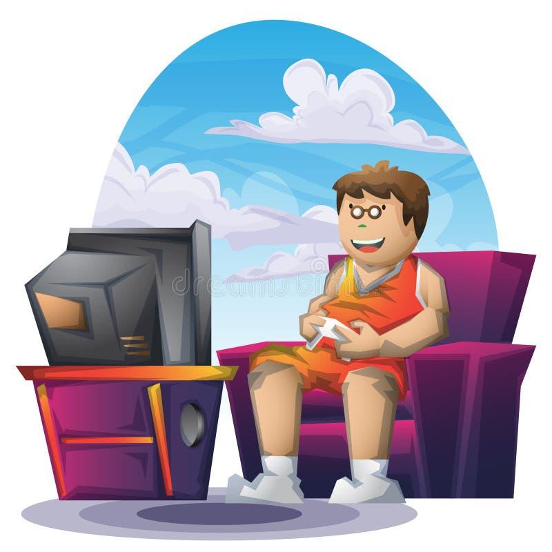 Kreskówki wektorowa gruba chłopiec bawić się grę z oddzielonymi warstwami dla gry i animaci royalty ilustracja