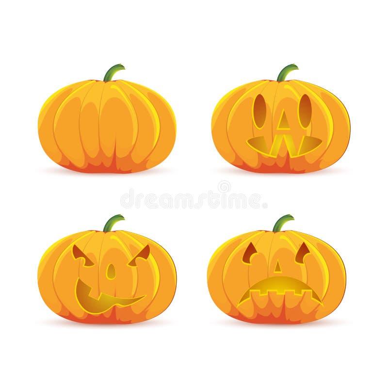 Kreskówki wektorowa Halloweenowa bania z świeczką inside Szczęśliwej twarzy Halloweenowa bania odizolowywająca na białym tle ilustracji