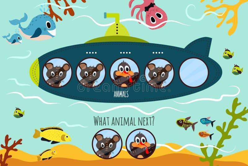 Kreskówki Wektorowa ilustracja edukacja kontynuuje logiczne serie colourful zwierzęta na łodzi podwodnej w oceanie dopasowywanie ilustracji