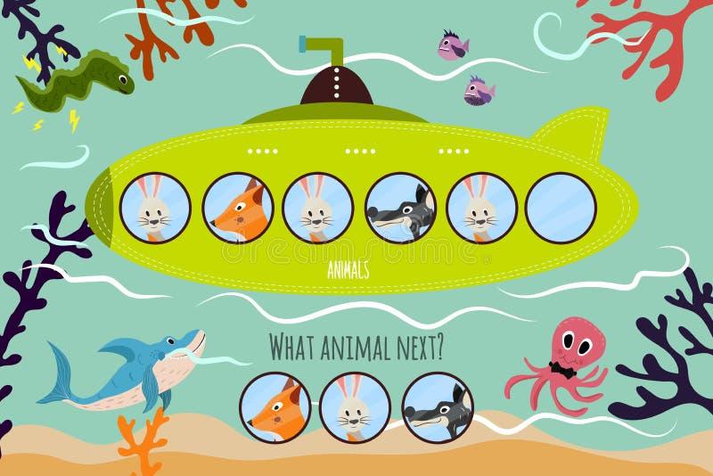 Kreskówki Wektorowa ilustracja edukacja kontynuuje logiczne serie colourful zwierzęta na zielonej łodzi podwodnej Dopasowywanie G ilustracji