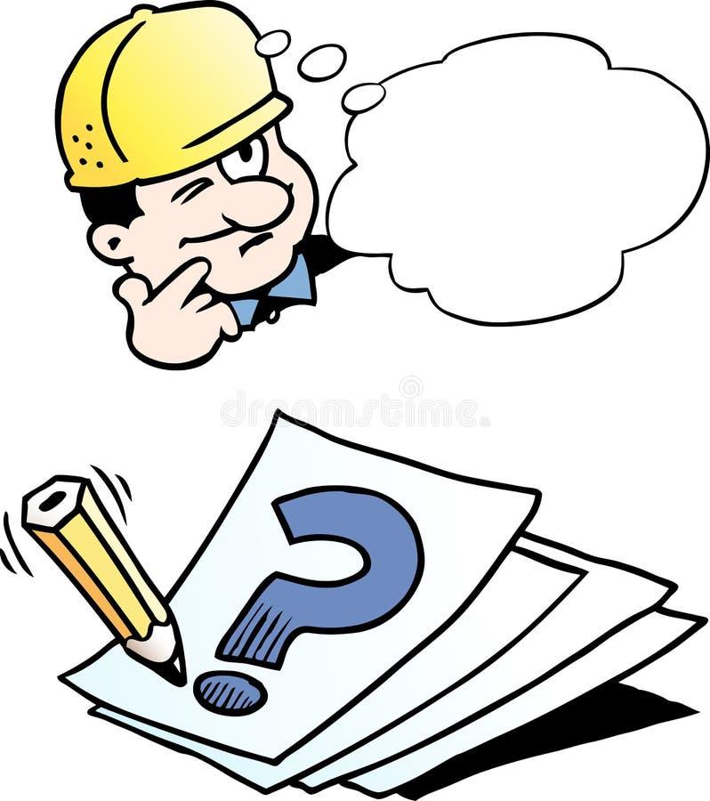 Kreskówki Wektorowa ilustracja inżyniera główkowanie rozwiązanie ilustracja wektor