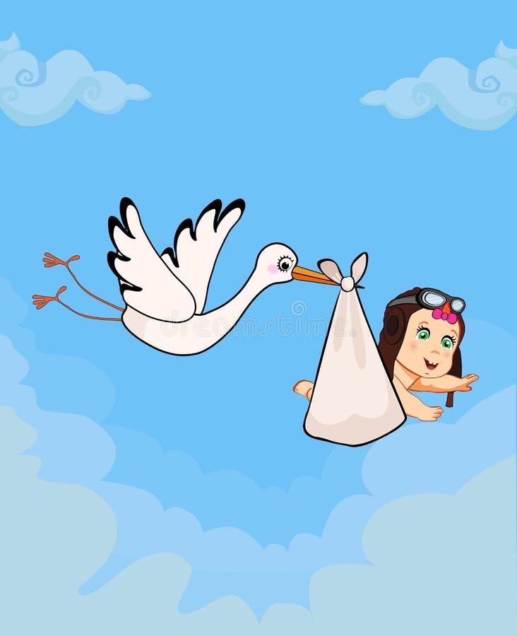 Kreskówki wektorowa ilustracja z bocianowego dowiezienia śliczną dziewczynką ilustracja wektor