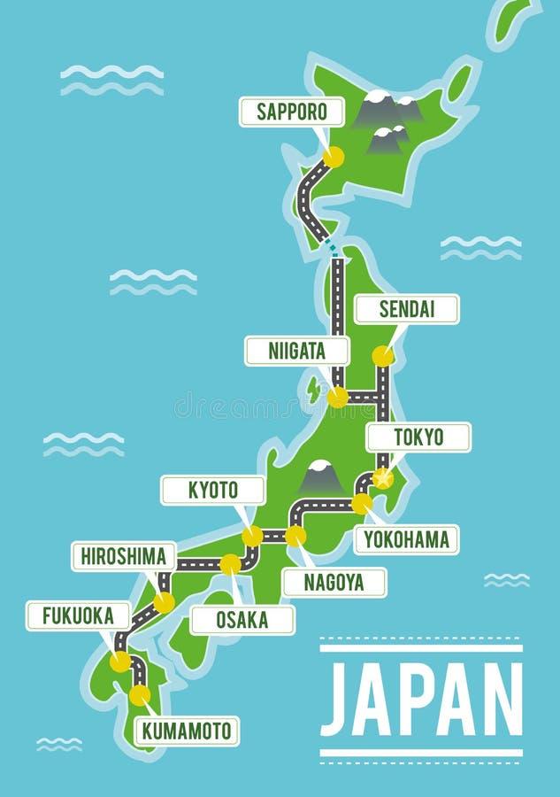 Kreskówki wektorowa mapa Japonia Podróży ilustracja z japońskimi głównymi miastami royalty ilustracja
