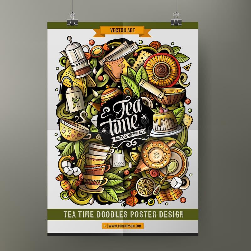 Kreskówki wektorowa ręka rysująca doodles Herbacianego plakatowego szablon Bardzo szczegółowy, z udziałami przedmioty ilustracyjn ilustracja wektor
