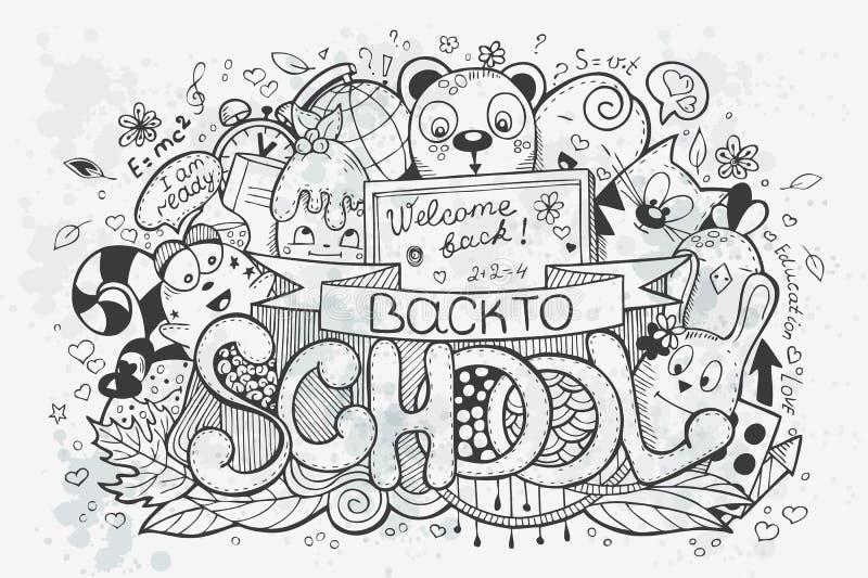 Kreskówki wektorowa ręka rysująca doodles na szkolnym temacie plecy idzie szkoła ilustracji