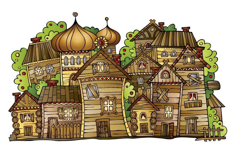 Kreskówki wektorowa Rosyjska stara drewniana wioska ilustracja wektor