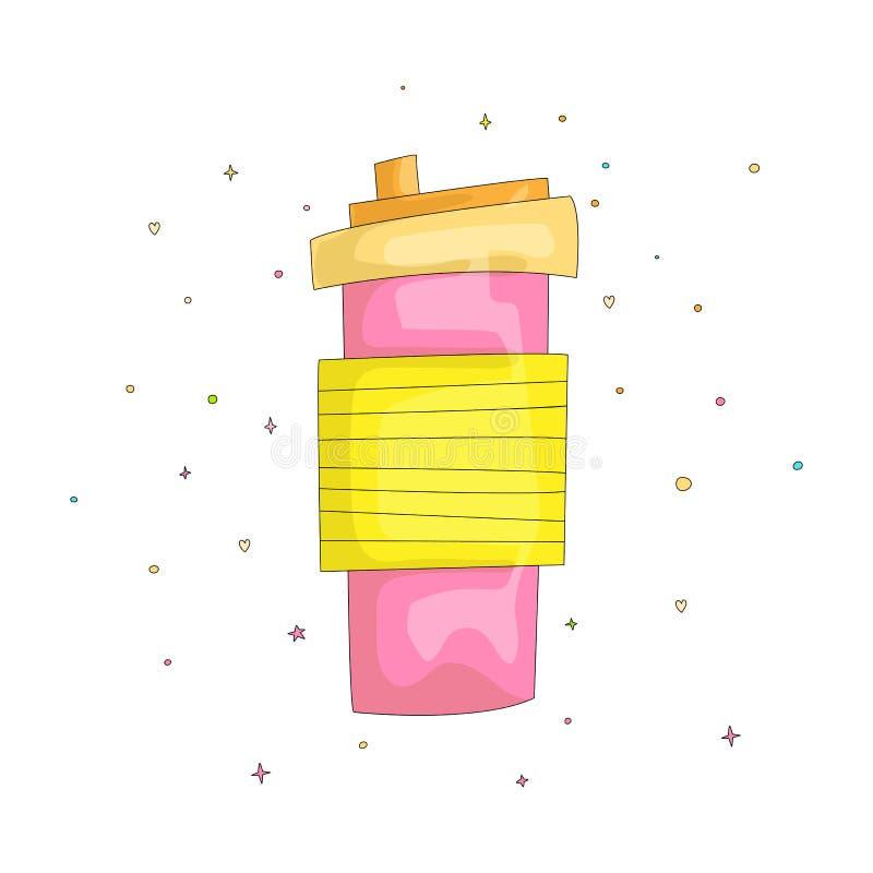 Kreskówki wektorowej zabawy śliczna ilustracja różowy kubek słodki koktajl Koktajl bierze daleko od z słomą w jaskrawych kolorach ilustracji