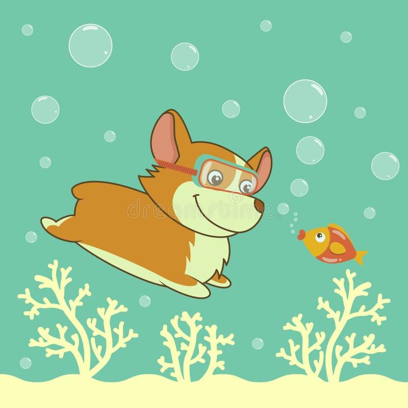 Kreskówki Welsh corgi psa pikowanie w oceanie ilustracji