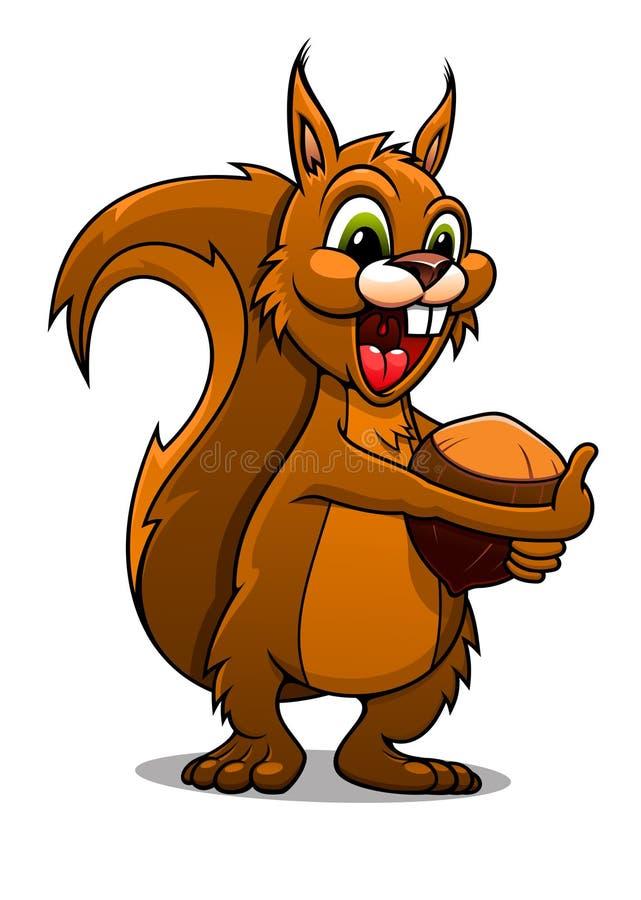 Kreskówki wiewiórka z dokrętką ilustracji
