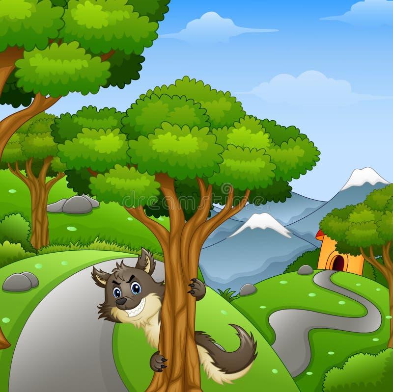 Kreskówki wilczy czaić się w lasowej drodze ilustracji