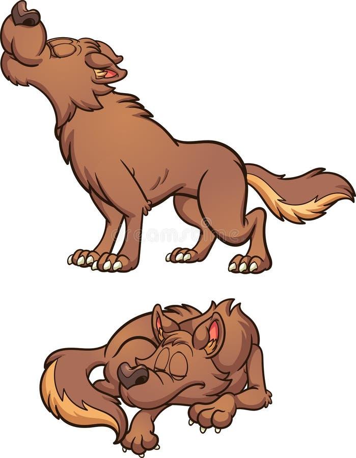 Kreskówki wilczy wyć i spać royalty ilustracja