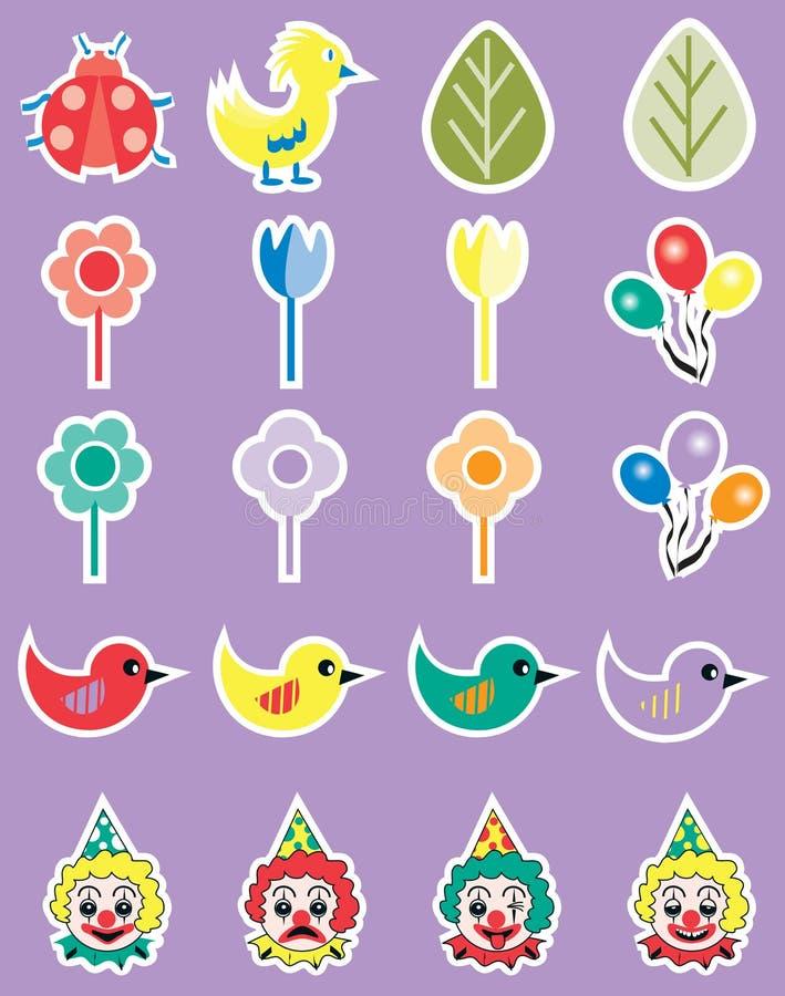 Kreskówki wiosny przyjęcia ikony set ilustracji