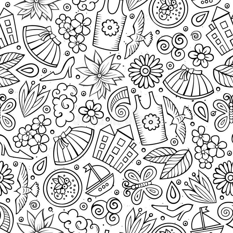 Kreskówki wiosny sezonu śliczna ręka rysujący bezszwowy wzór royalty ilustracja