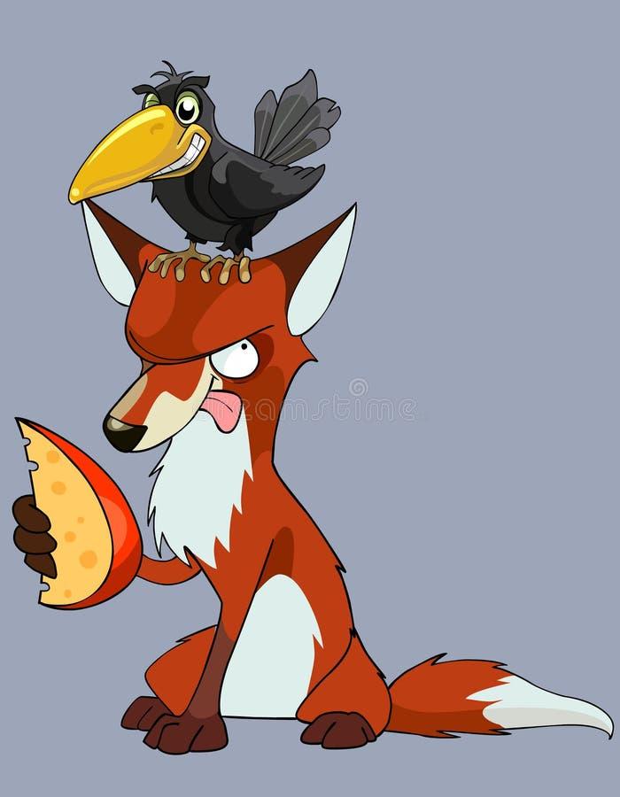 Kreskówki wrona siedzi na lisie z kawałkiem ser ilustracja wektor
