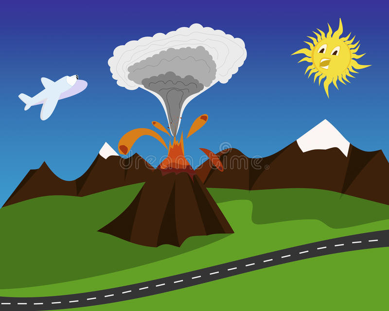 Kreskówki wulkanu erupcja royalty ilustracja