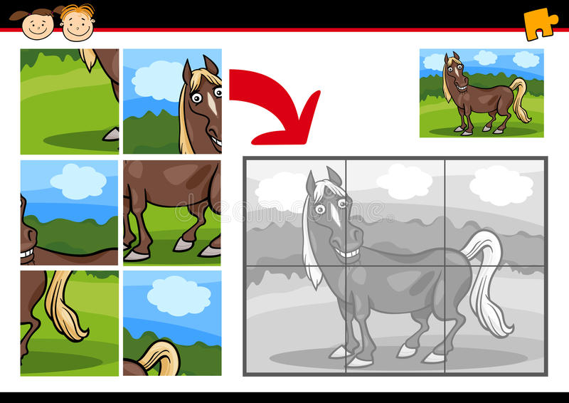 Kreskówki wyrzynarki łamigłówki końska gra royalty ilustracja