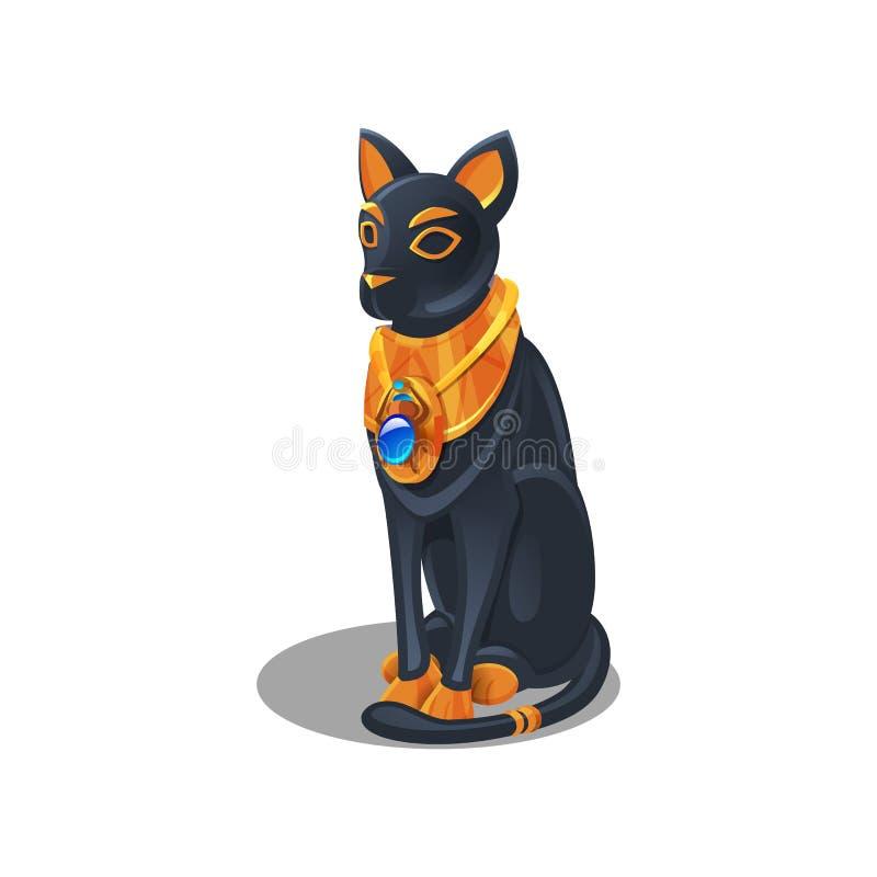 Kreskówki złoty osiągnięcie, Egipskiego kota figurka odizolowywająca na białym tle royalty ilustracja