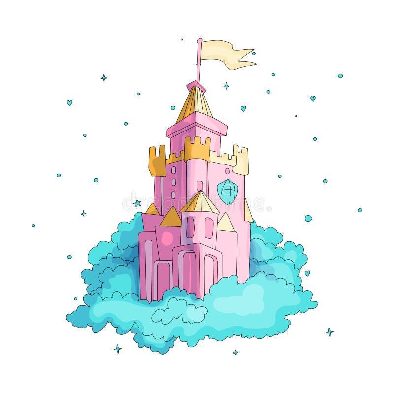 Kreskówki zabawy średniowieczne menchie roszują z flagą w błękitnych chmurach Magiczny kreskówka kasztel dla princess od bajki ik ilustracja wektor