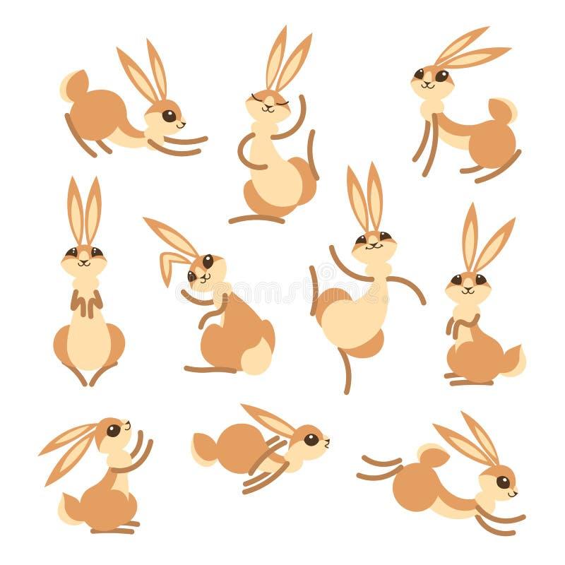 Kreskówki zając lub Mali śmieszni króliki Wektorowa ilustracja grupująca i ablegrująca dla łatwego edytorstwa ilustracji