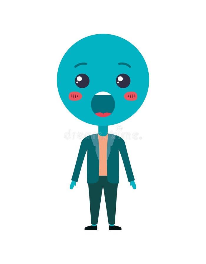 Kreskówki zdziwiony emoticon z ciała kawaii charakterem ilustracji