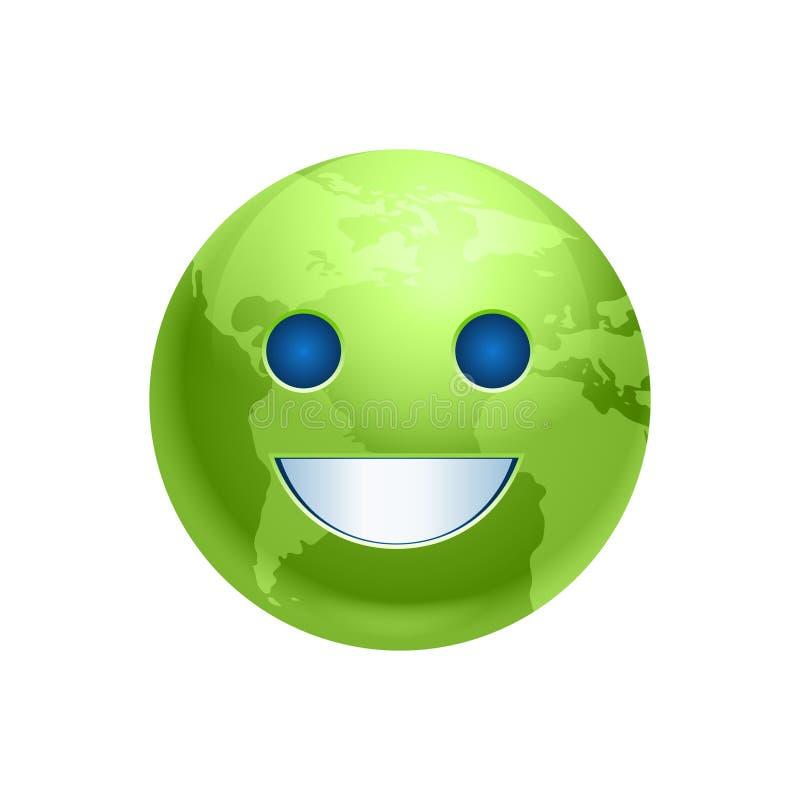 Kreskówki ziemi twarzy zieleni uśmiechu ikony planety Śmieszna emocja ilustracja wektor