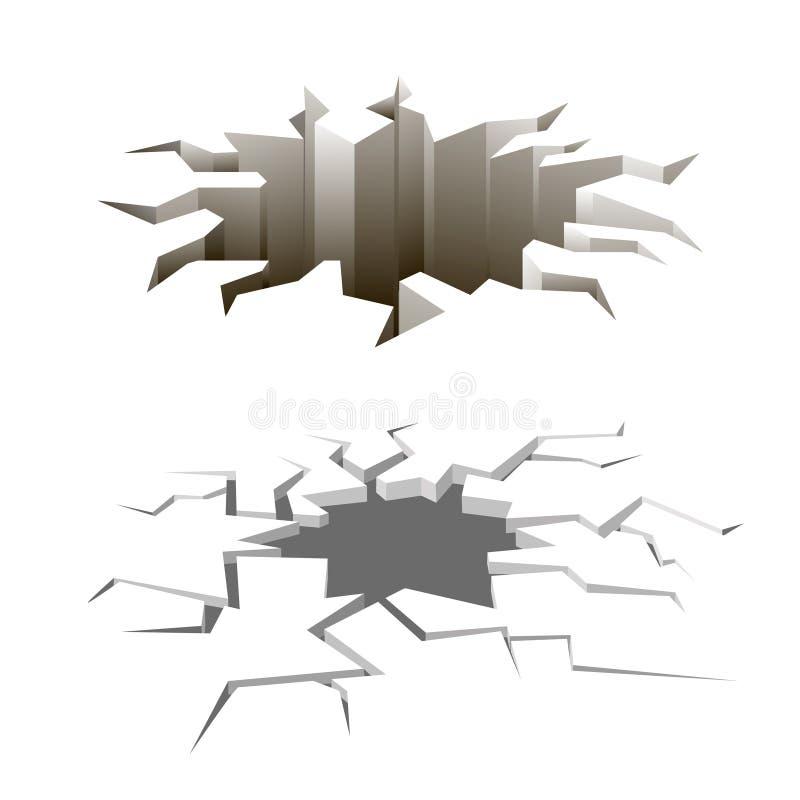 Kreskówki ziemia pęka wektoru set earthquake ilustracja wektor