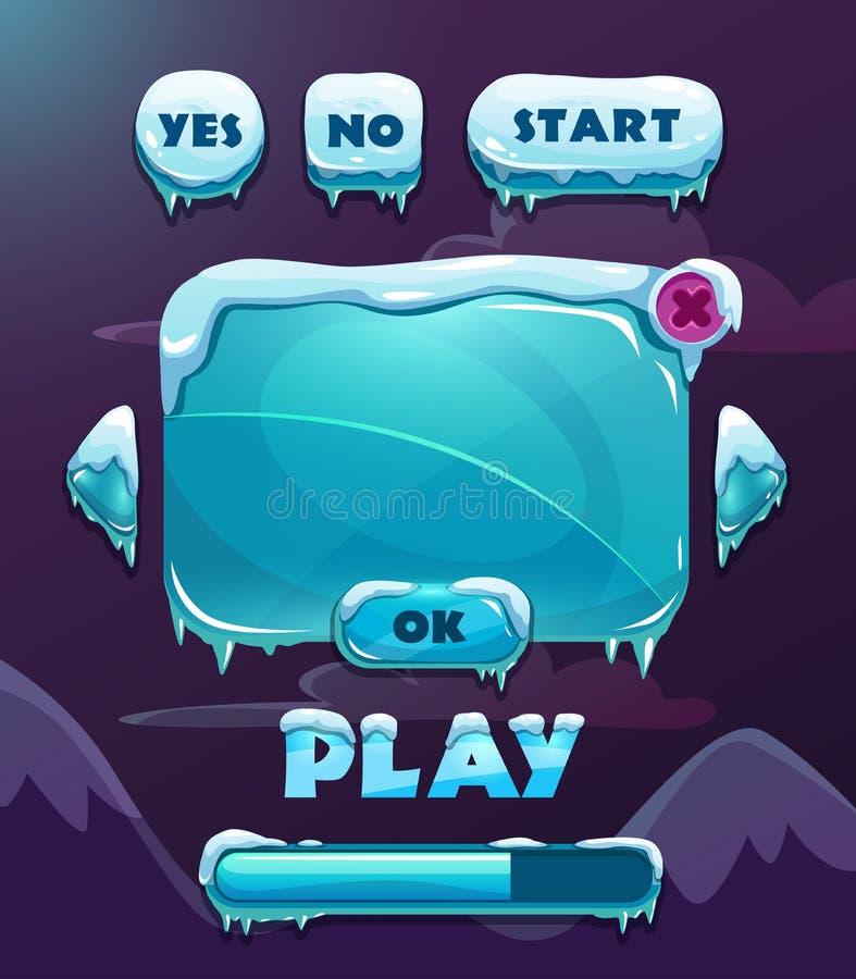 Kreskówki zimy gry interfejs użytkownika ilustracji
