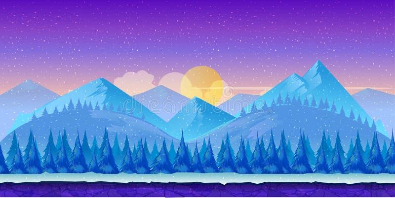 Kreskówki zimy krajobraz z lodu, śnieżnego i chmurnego niebem, wektorowy natury tło dla gier ilustracja wektor
