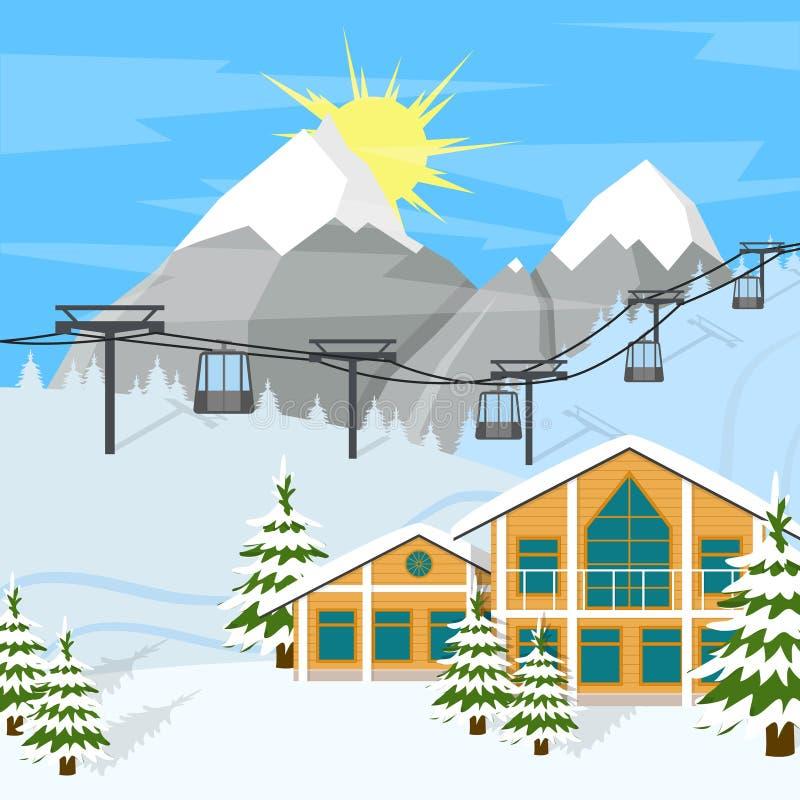 Kreskówki zimy narciarstwa kurortu tła karta wektor royalty ilustracja