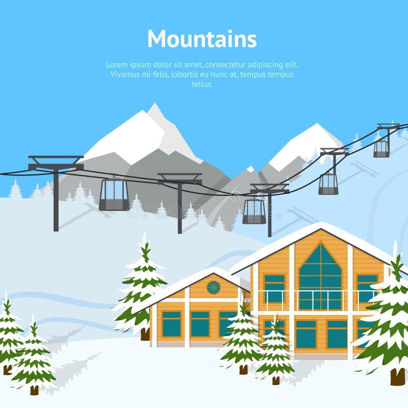 Kreskówki zimy narciarstwa kurortu tła karta wektor ilustracja wektor
