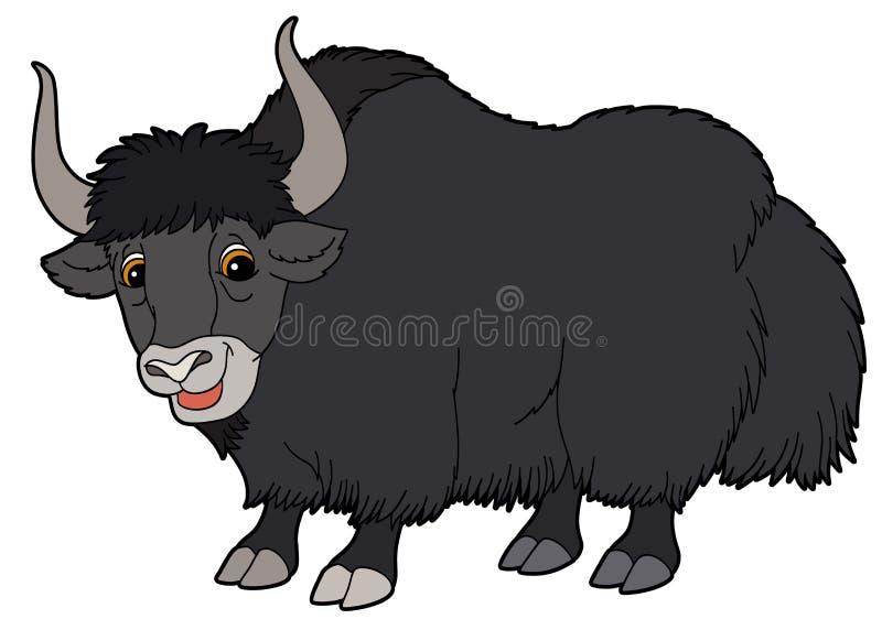 Kreskówki zwierzę ilustracja dla dzieci - yak - ilustracji