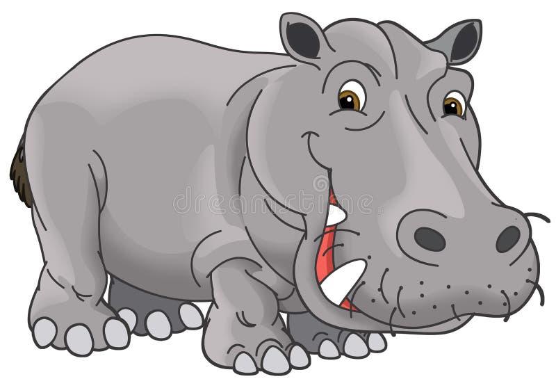 Kreskówki zwierzę karykatura - hipopotam - ilustracji