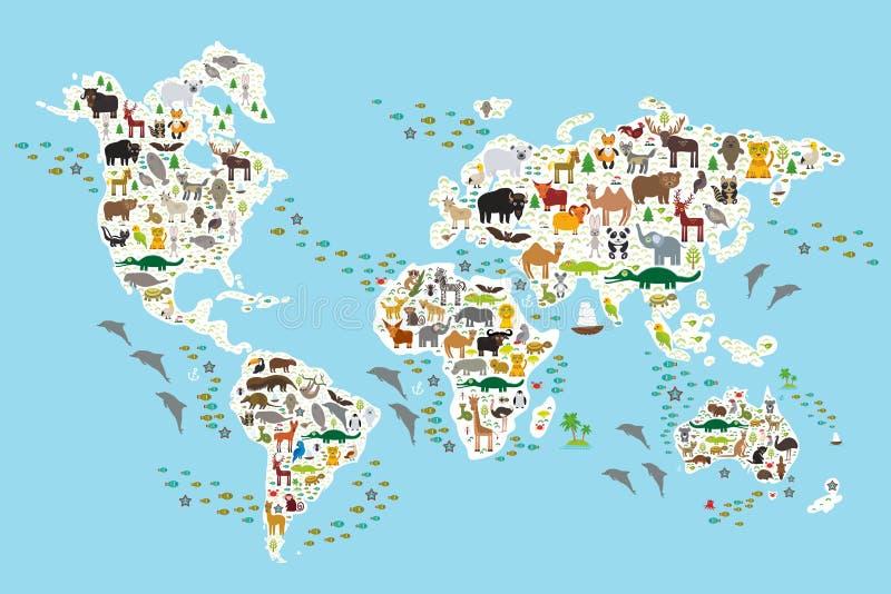 Kreskówki zwierzęca światowa mapa dla dzieci i dzieciaków ilustracji