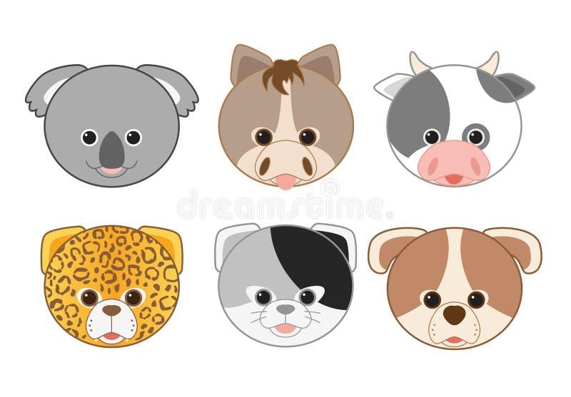 Kreskówki zwierzęcia głowy ikon kolekcja 2 ilustracja wektor