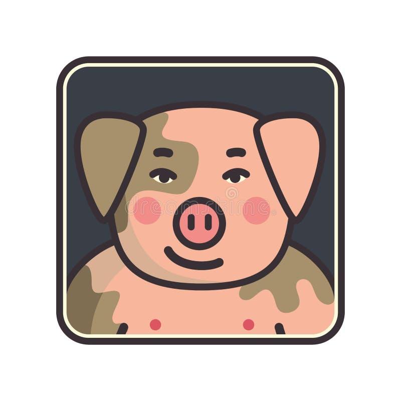Kreskówki zwierzęcia głowy ikona Świniowaty twarzy avatar dla profilu ogólnospołeczne sieci Ręka rysujący projekt royalty ilustracja